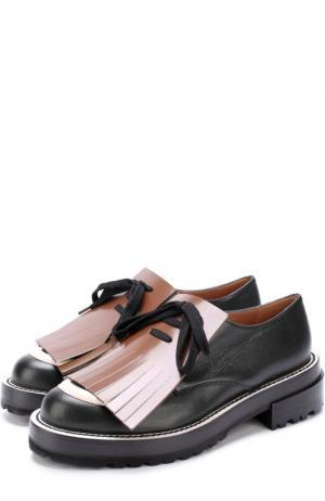 Кожаные ботинки с бахромой Marni. Цвет: темно-зеленый