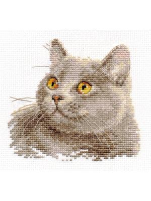 Британский кот 12х11 см Алиса. Цвет: желтый, серый, светло-серый