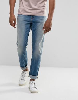 Nudie Jeans Синие зауженные джинсы Co Lean Dean. Цвет: синий