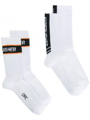 Носки с вышивкой Omc. Цвет: белый