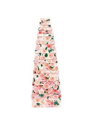 Коробка картонная, набор из 10 шт. 6.5х3х3 - 24.5х22.5х11.5 см. Нежные розы VELD-CO. Цвет: зеленый, розовый