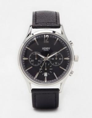 Henry London Часы с хронографом и кожаным ремешком Edgware. Цвет: черный