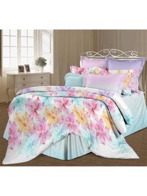 Комплект постельного белья 2,0 перкаль Эстель Романтика. Цвет: бирюзовый, розовый