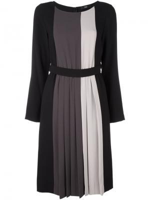 Полосатое платье с поясом Steffen Schraut. Цвет: чёрный