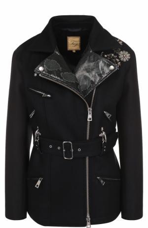 Шерстяная куртка с косой молнией и поясом Fay. Цвет: темно-синий