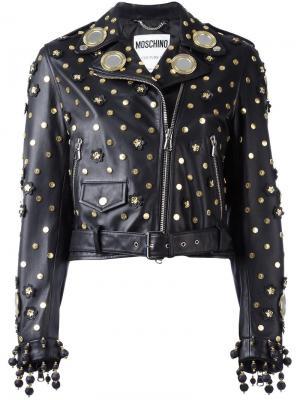 Декорированная байкерская куртка Moschino. Цвет: чёрный
