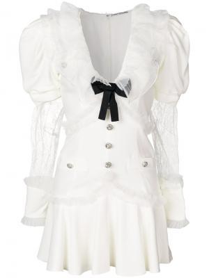 Платье с бантом и объемными рукавами Alessandra Rich. Цвет: белый
