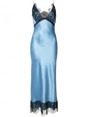 Платье с кружевными вставками Natasha Zinko. Цвет: синий