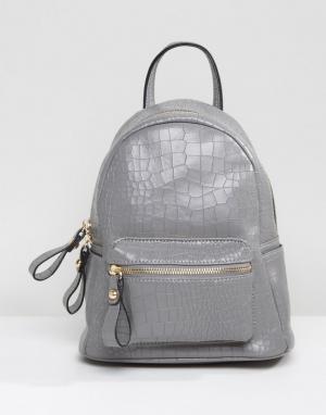 QUPID Мини-рюкзак с крокодиловым узором. Цвет: серый