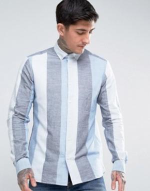 YMC Рубашка на пуговицах в широкую полоску. Цвет: синий