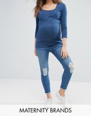 New Look Maternity Джинсы скинни для беременных с посадкой под животом. Цвет: синий