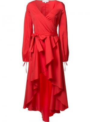 Асимметричное платье с V-образным вырезом Caroline Constas. Цвет: красный