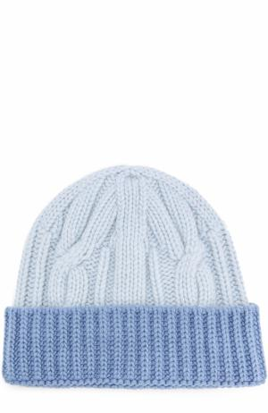 Шерстяная шапка фактурной вязки Tak.Ori. Цвет: голубой