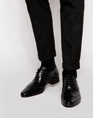 ASOS Оксфордские туфли-броги из натуральной кожи. Цвет: черный