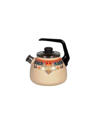 Чайник 3,0 л, со свистком, СтальЭмаль. Цвет: светло-коричневый