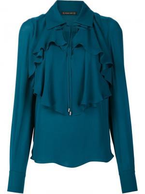 Блузка с оборками Plein Sud. Цвет: синий