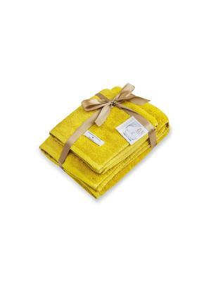 Комплект полотенец махровых  Bourgeois Nouveau Буржуа Нуво 1-45х90 1-70х130 с лентой Василиса. Цвет: горчичный