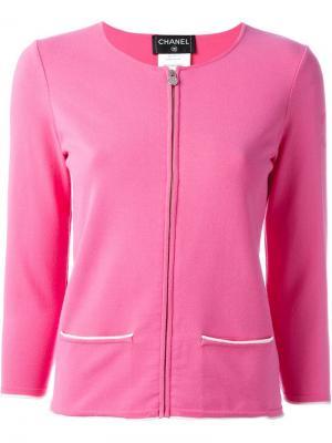 Кардиган на молнии Chanel Vintage. Цвет: розовый и фиолетовый