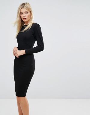 Closet London Платье миди со сборками на рукавах. Цвет: черный