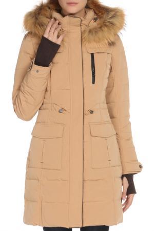 Полуприлегающее пальто с 5-ю карманами SNOWIMAGE. Цвет: 2557 песочный