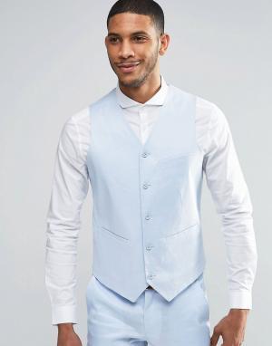 ASOS Голубой облегающий жилет из ткани на основе льна. Цвет: синий