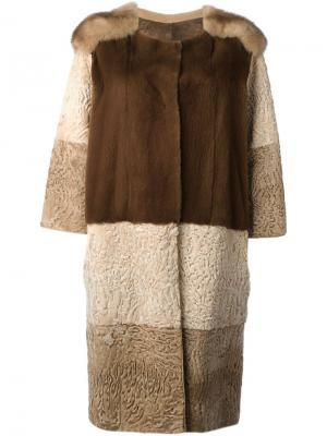 Пальто с панельным дизайном Liska. Цвет: коричневый