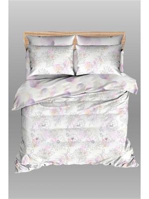 Комплект постельного белья из сатина Василиса Будто бы случайно Евро. Цвет: белый, сиреневый, бледно-розовый