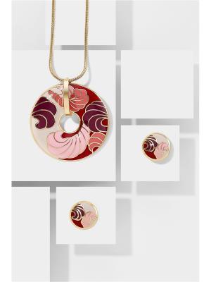 Набор украшений Шоколад и Ваниль: цепочка с кулоном серьги Nothing but Love. Цвет: красный, бордовый, розовый
