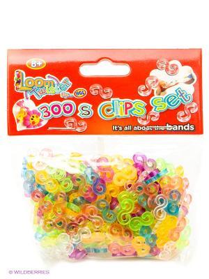Набор из 300 соединительных S-клипс Loom Twister. Цвет: голубой, фиолетовый, прозрачный, желтый