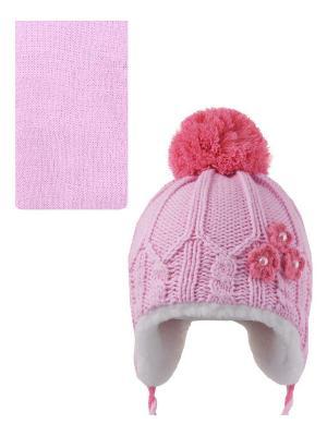 Шапка, шарф Pro-han. Цвет: бледно-розовый