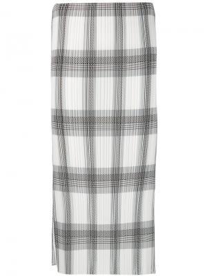 Плиссированная юбка в клетку Helmut Lang. Цвет: чёрный