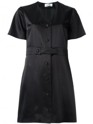 Платье-рубашка с V-образным вырезом Courrèges. Цвет: чёрный