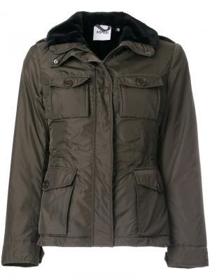 Куртка милитари с меховой отделкой Aspesi. Цвет: зелёный