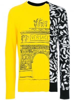 Свитер с вышивкой Demi Arco-Scribble Versace. Цвет: жёлтый и оранжевый