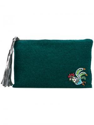 Декорированный клатч Lisa C Bijoux. Цвет: зелёный