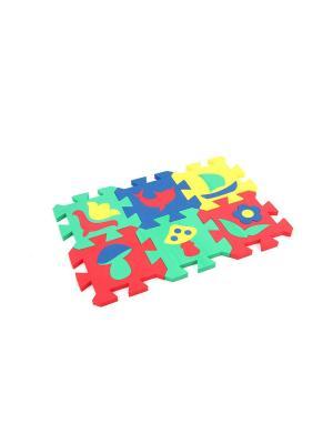 Развивающий коврик Мозаика (14х14см, 6 шт.) БОМИК. Цвет: синий, зеленый, красный