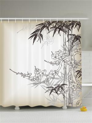 Фотоштора для ванной Бамбук и сакура, 180*200 см Magic Lady. Цвет: бежевый, белый, коричневый, молочный, светло-коричневый, серый, черный
