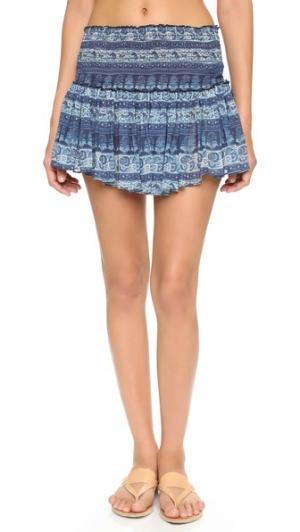 Пляжная мини-юбка с узором «павлиний глаз» LOVESHACKFANCY. Цвет: голубой