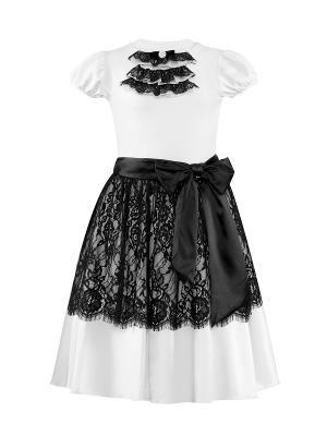 Комплект для девочек (топ, юбка) Perlitta. Цвет: белый