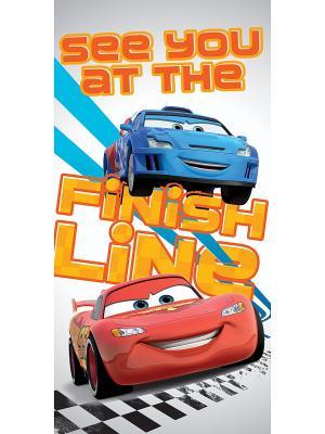 Полотенце махровое Дисней Тачки 2 Disney. Цвет: белый, синий, красный