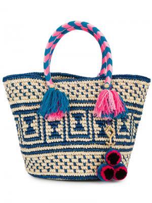 Плетеная сумка-тоут Manya Yosuzi. Цвет: телесный