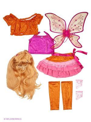 Карнавальный костюм Стелла Батик. Цвет: розовый, оранжевый
