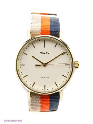Часы TIMEX. Цвет: бежевый, оранжевый, синий