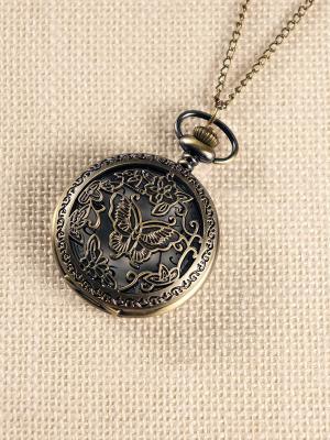 Кулон-часы Бабочка среди цветов (большой) Mitya Veselkov. Цвет: бронзовый