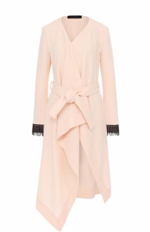 Шерстяное пальто асимметричного кроя с поясом Roland Mouret. Цвет: светло-бежевый