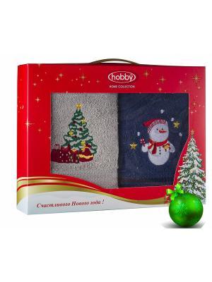 Махровое полотенце в коробке 50х90*2 Новый год, V3 HOBBY HOME COLLECTION. Цвет: синий, светло-серый