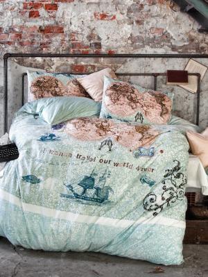 Комплект постельного белья WORLD TRAVEL ранфорс, 145ТС, евро ISSIMO Home. Цвет: морская волна