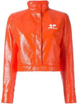 Виниловая укороченная куртка Courrèges. Цвет: жёлтый и оранжевый