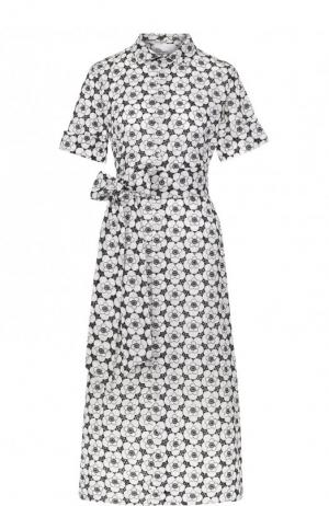 Хлопковое платье-рубашка с поясом Lisa Marie Fernandez. Цвет: черно-белый