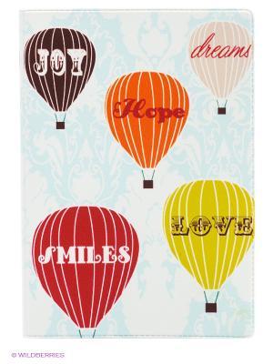 Обложка для паспорта Полет на воздушном шаре Mitya Veselkov. Цвет: светло-голубой, оранжевый, белый, зеленый